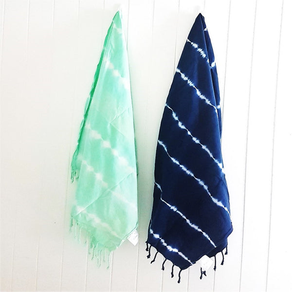 TIE DYE - luxury Turkish towel throw scarf in either MINT or NAVY - spectacular in any environment