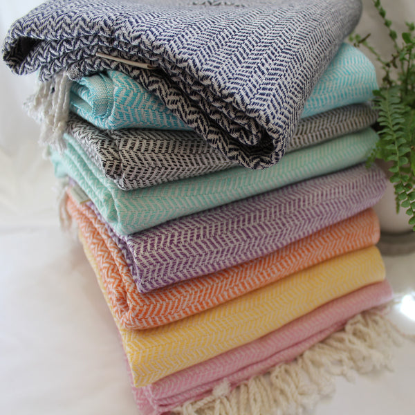 WATEGOS 8 stylish colours of hand-loomed brilliance - towel, scarf, blanket - these Turkish peshtemal are more than a towel