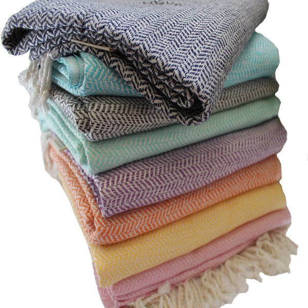 WATEGOS Turkish towels come in 8 beautiful colours - hand-loomed to retain the beauty of the fibre, not stressing them, so the softness is amplified - absorbent and fast drying, yet so soft, that they also make a beautiful scarf