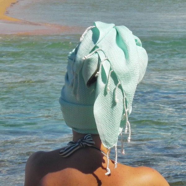 Because of our Turkish towels amazing absorbency they make fabulous hair wraps and they dry in a snap, ready for the next opportunity to dry you down