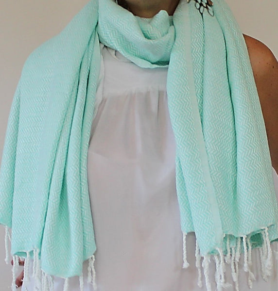 WATEGOS luxury hand-loomed scarf towel and more - Mint and delicate beautiful shade in so many occasions