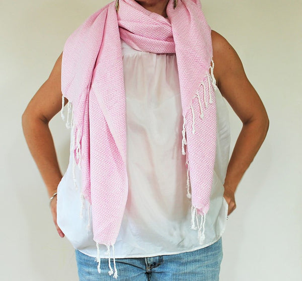 WATEGOS Shell Pink makes a beautiful scarf when the temperature drops - an great travel companion for all of the changing temperatures - plane, beach, home and beyond