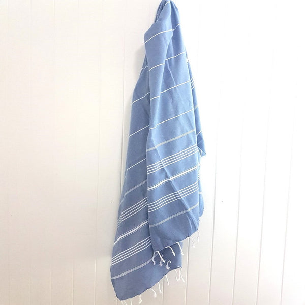 Beach blanket or XL Turkish towel - Classic style Denim blue - the ANGOURIE - adds a little laid back style to any situation