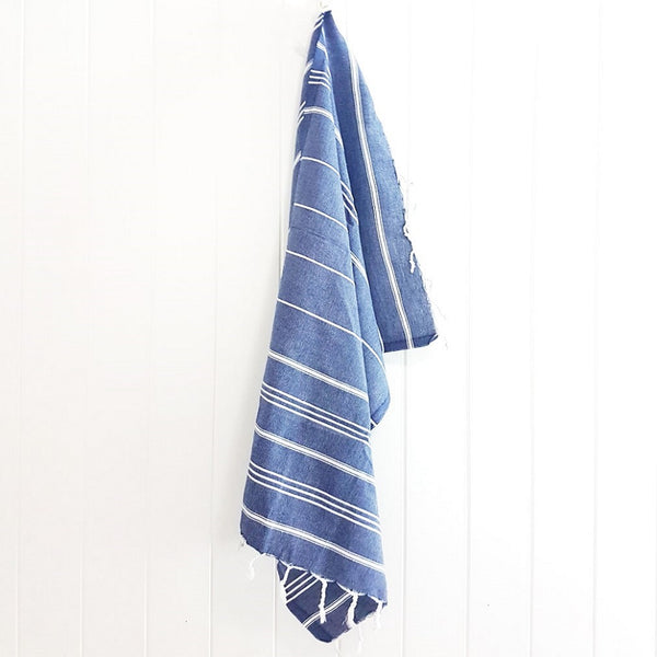 Denim blue kids Turkish towel - the Mini Classic