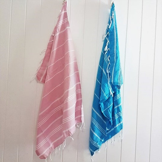 Pale pink and Turquoise Kids Turkish towel - the Mini Classic stripes