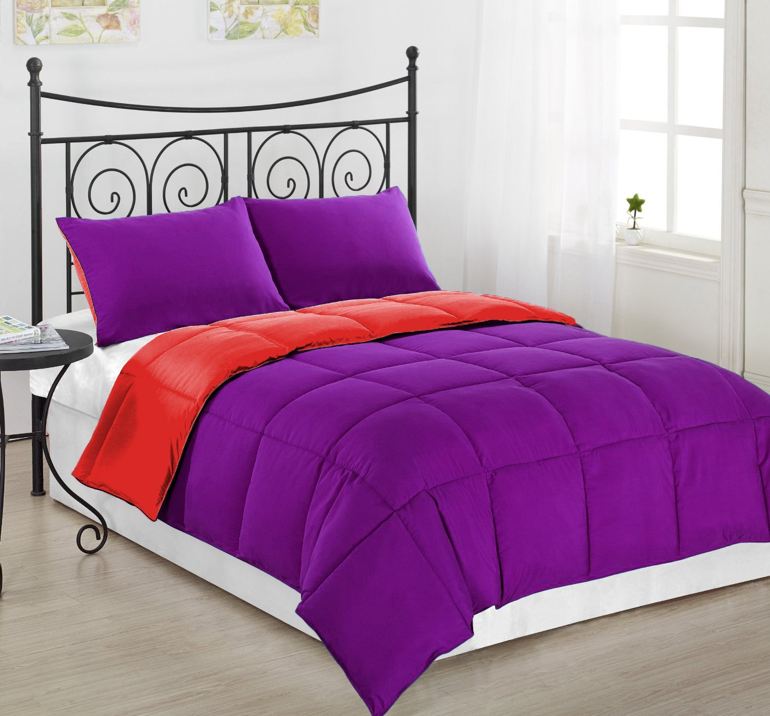 3 pc Reversible Purple and Red Alternative Down Comforter