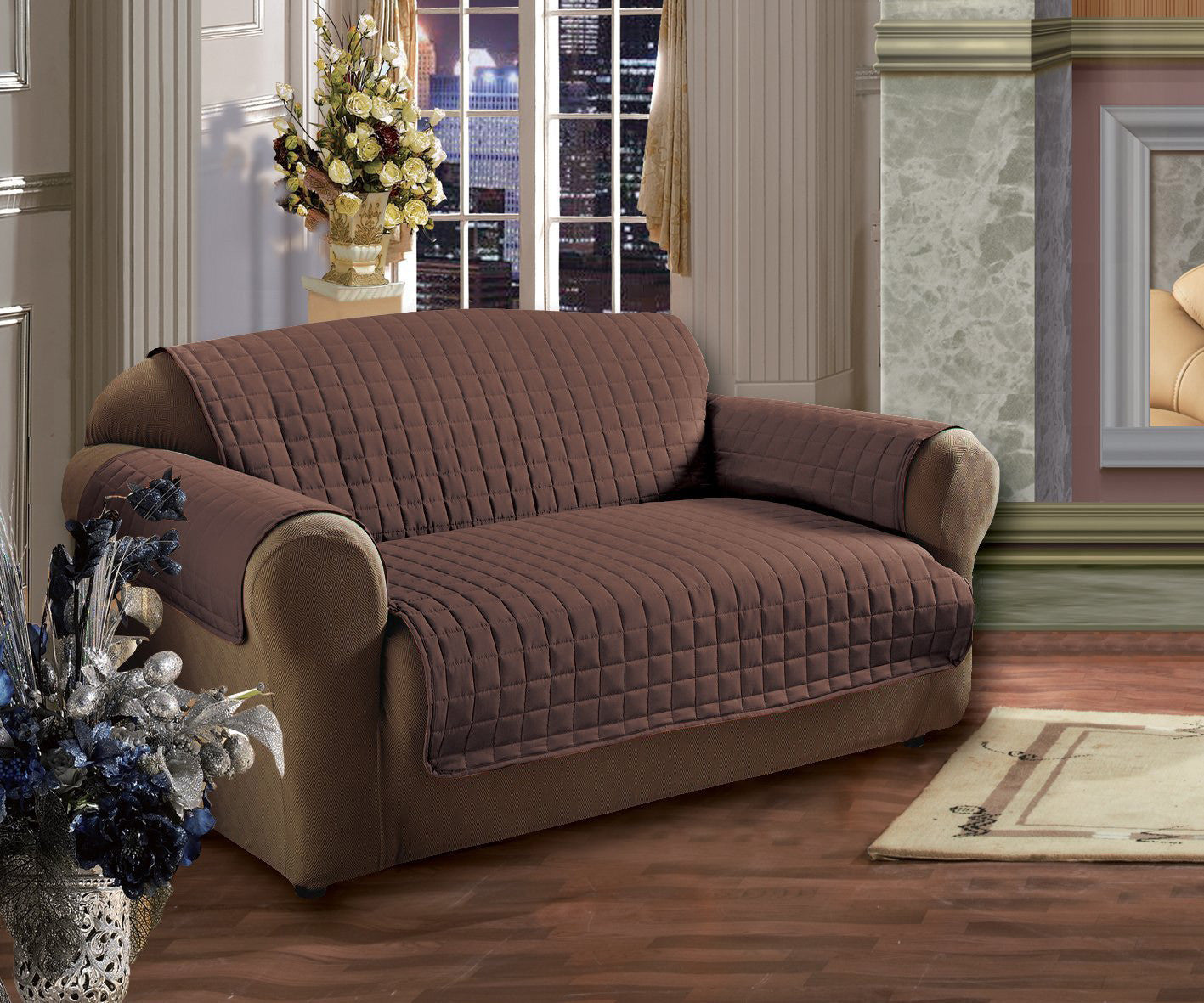 CHOCOLATE BROWN QUILTED SUEDE PROTECTIVE FURNITURE SOFA LOVE SEAT /& CHAIR COVER