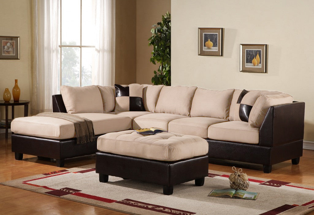 3 pc Modern Microfiber Faux Leather Sectional Sofa Chaise and Ottoman -  Beige