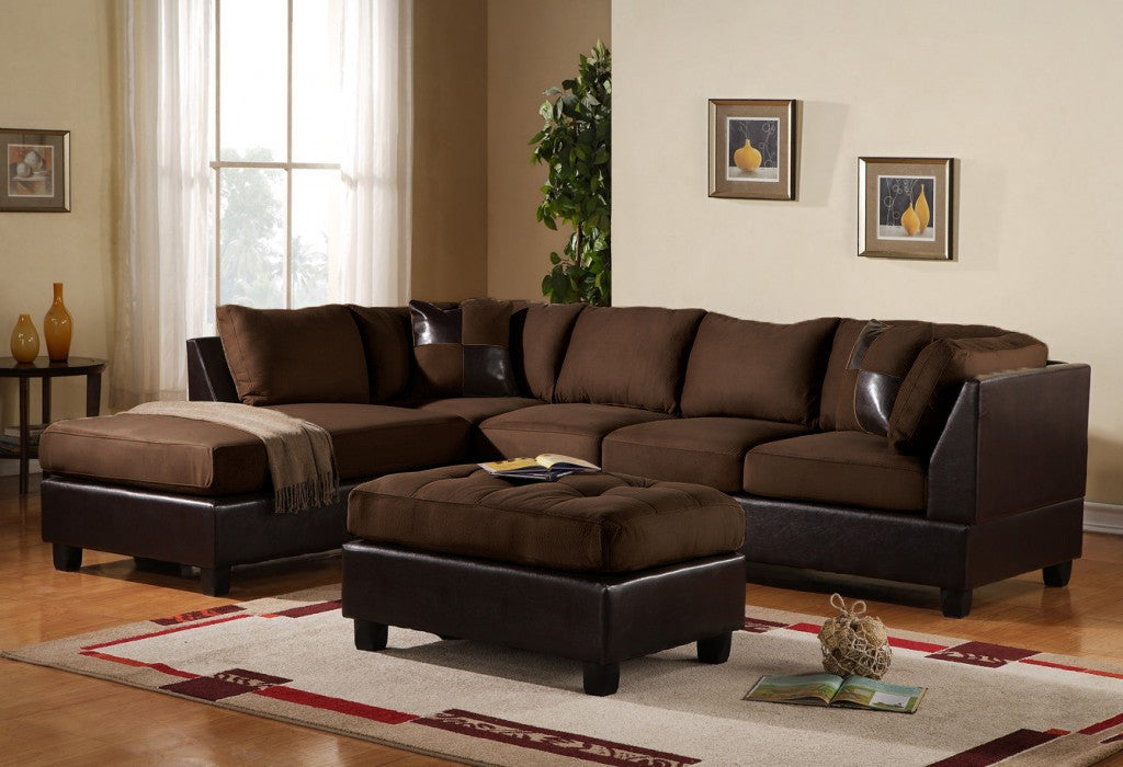 3 pc Modern Microfiber Faux Leather Sectional Sofa Chaise and Ottoman -  Chocolate