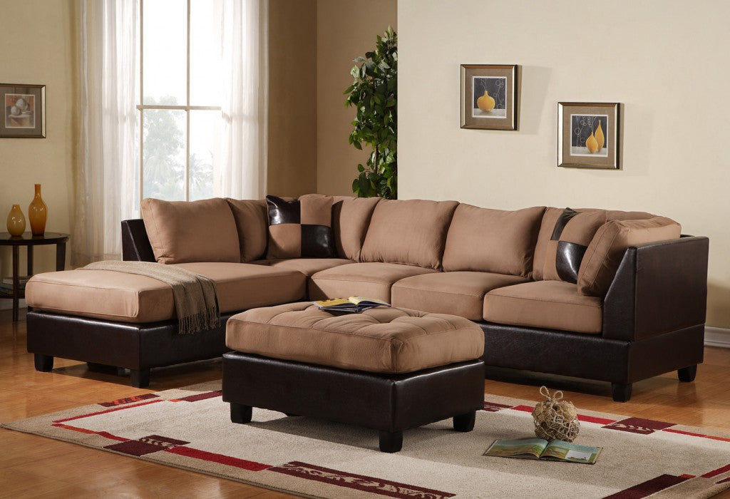 3 pc Modern Microfiber Sectional Sofa Chaise and Ottoman - Hazelnut