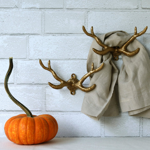 Gold Antler Wall Hook - set of 2