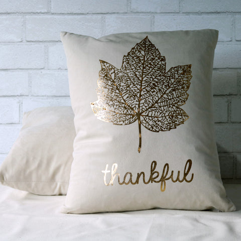 Gold Leaf Thankful Pillow