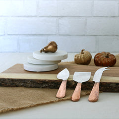 Hammered Copper Cheese Knife Set - Set of 3