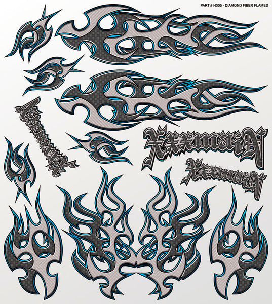 Diamond Fiber Flames Large Sticker Sheet