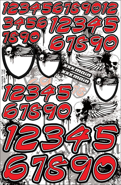 Skulls Number Set - Red