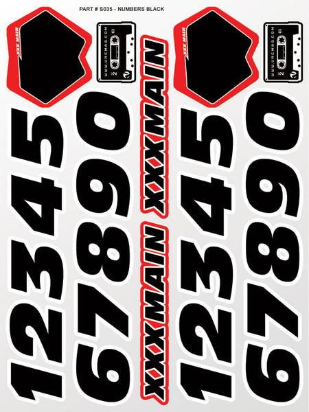 Numbers Black Sticker Sheet