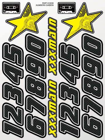 Numbers Carbon Sticker Sheet