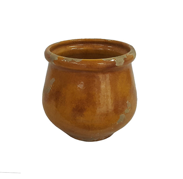 Distressed Mustard Small Round Pot
