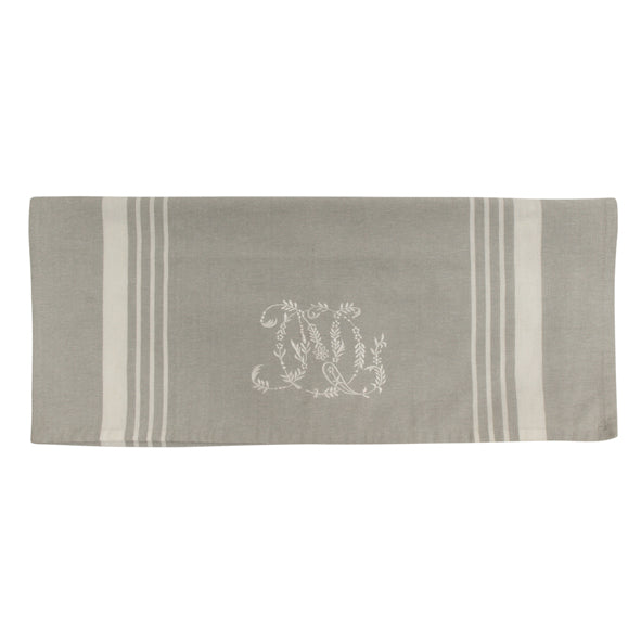 Natural Linen with White Stripe Monogram Teatowel
