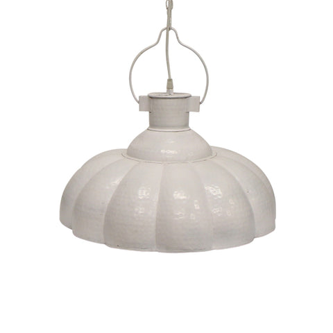 Luna Ribbed White Hanging Lamp