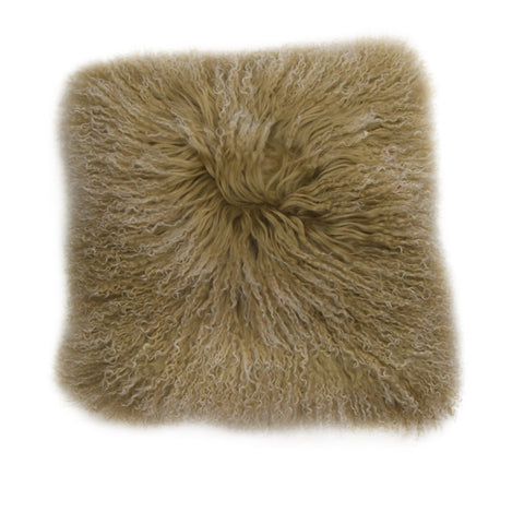Frost Caramel Mongolian Fur Cushion