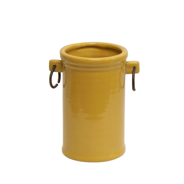 French Mustard Tall Metal Ring Pot