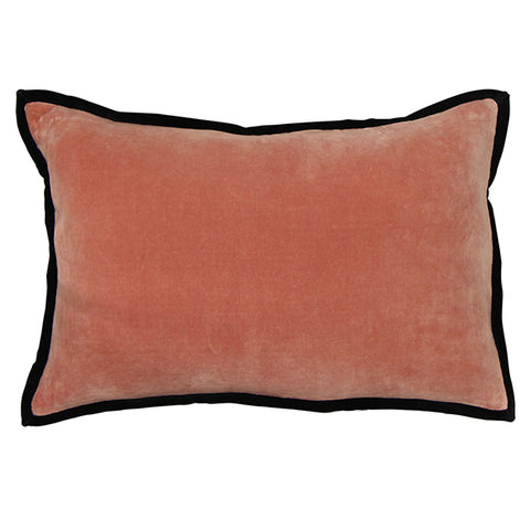 Melon Velvet Cushion with Trim