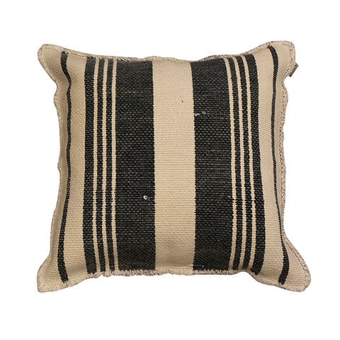 Charcoal Striped Fray Cushion 50x50