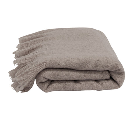 Solid Fringed Grey Throw
