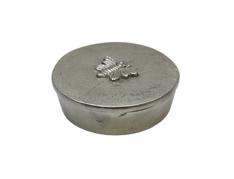 Round Silver Box with Bee Design 10.5cmDiax3cmH