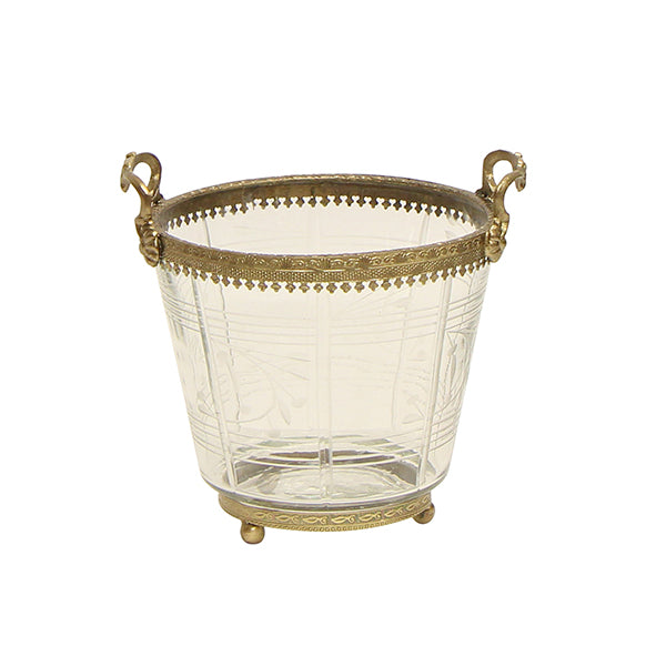 Valante Round Planter with Brass Trim
