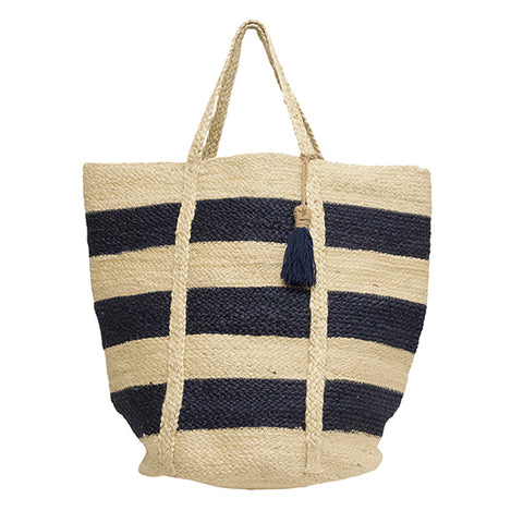 CannesNavy Thick Stripe Bag with Tassel