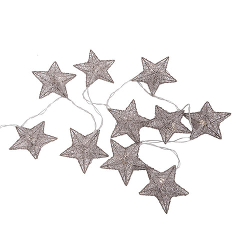 Light Up Silver Wire Star Garland