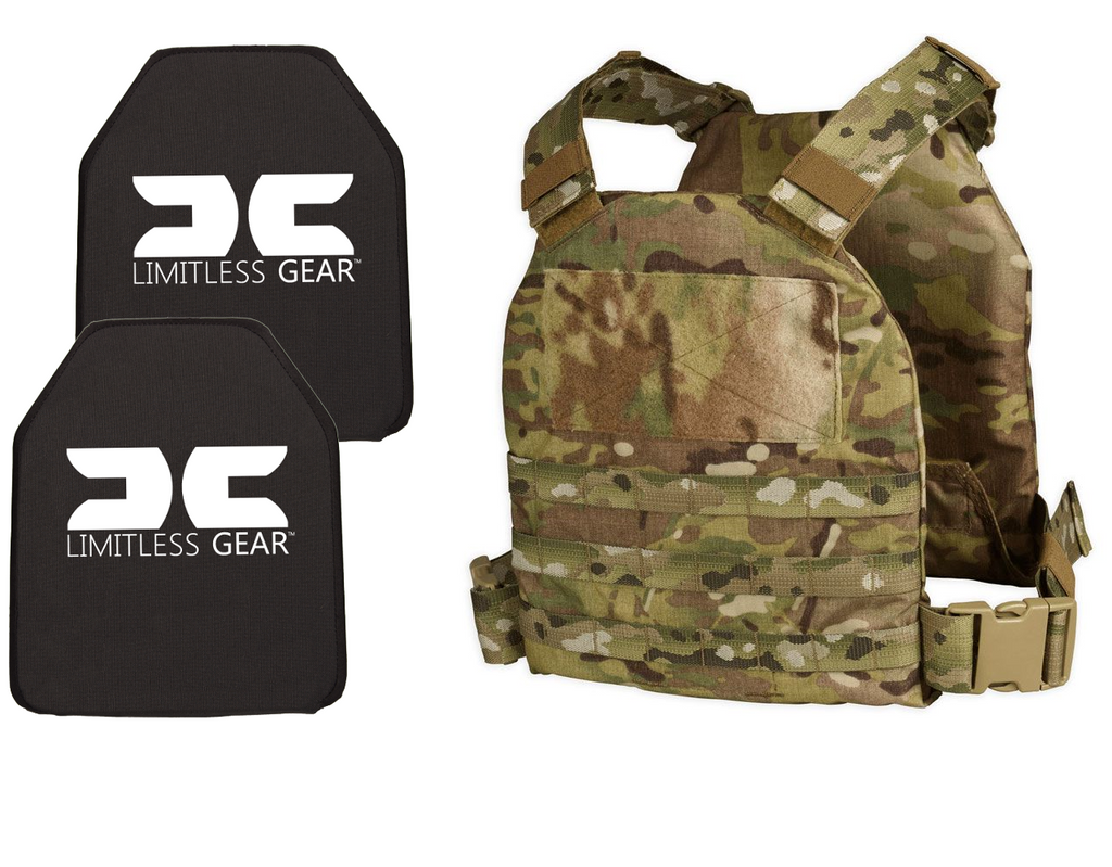 Limitless Gear QRC Active Shooter Kit With Level III+ MULTI Curve Hard Armor Plates NIJ 07 Tested