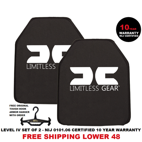 LIMITLESS GEAR LEVEL IV 10X12 HARD ARMOR PLATES NIJ 0101.06 CERTIFED 10 YEAR WARRANTY FREE SHIPPING MODEL 1155 (SET OF 2)
