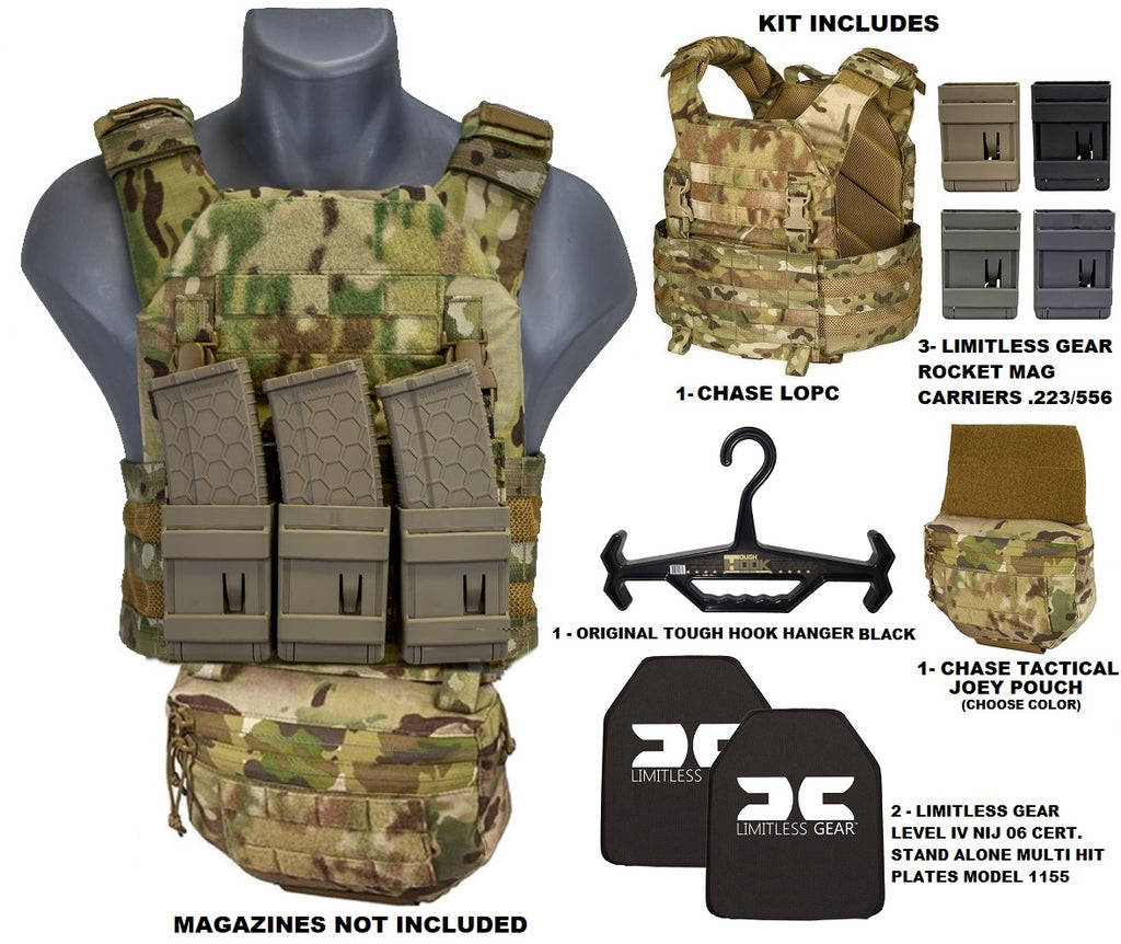 Lightweight Operational Plate Carrier (LOPC) Armor Combo Kit 3 - Chase Tactical  NIJ 0101.06 CERTIFIED 10 YEAR WARRANTY CPL LISTED PLATES