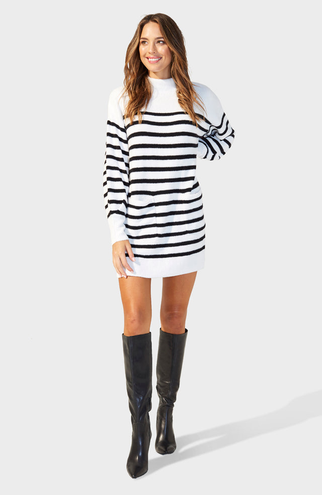 Indhra Striped Knit Jumper Dress