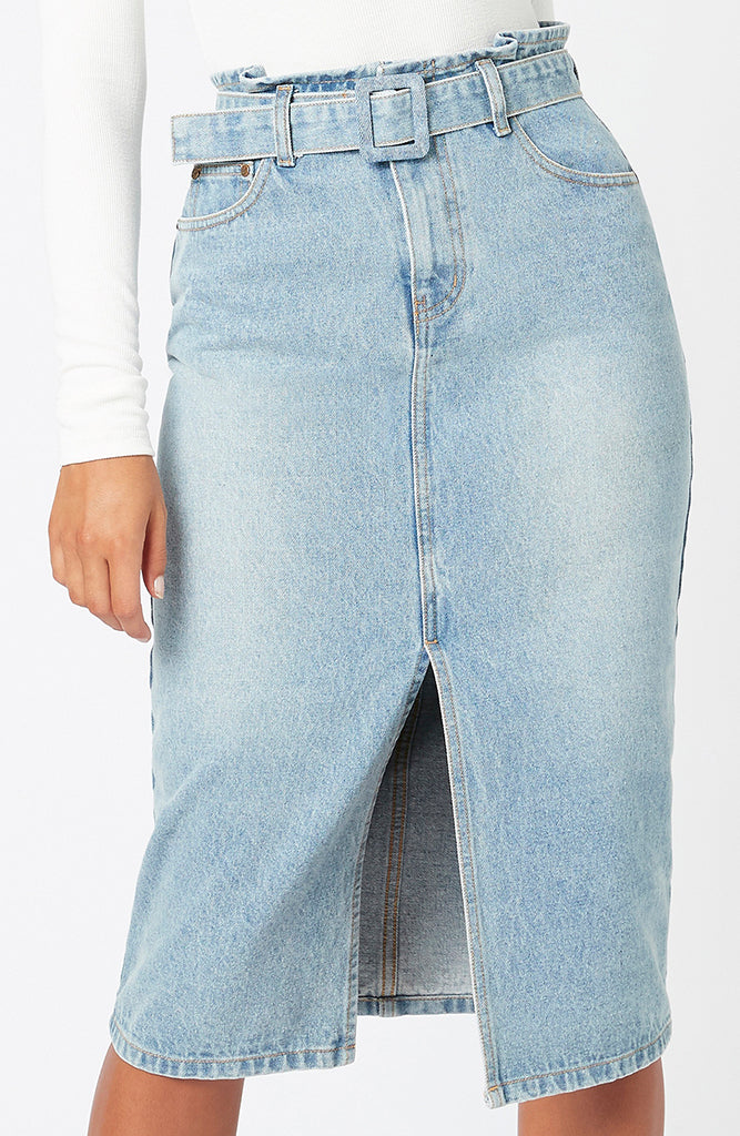 MINKPINK Central Denim Midi Skirt