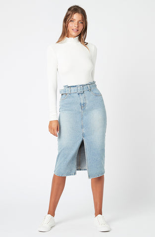 Central Denim Midi Skirt