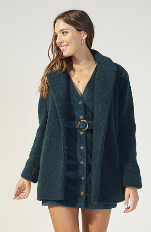 Game Of Chance Shearling Coat Emerald