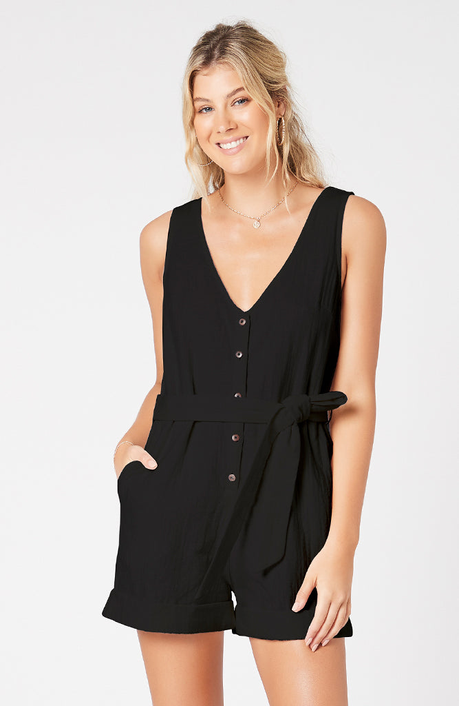 Isabelle Button Front Playsuit Black (4317506109533)