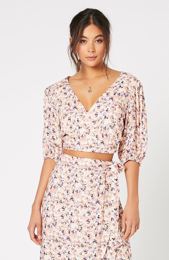 MINKPINK Sale Smudge Floral Wrap Top