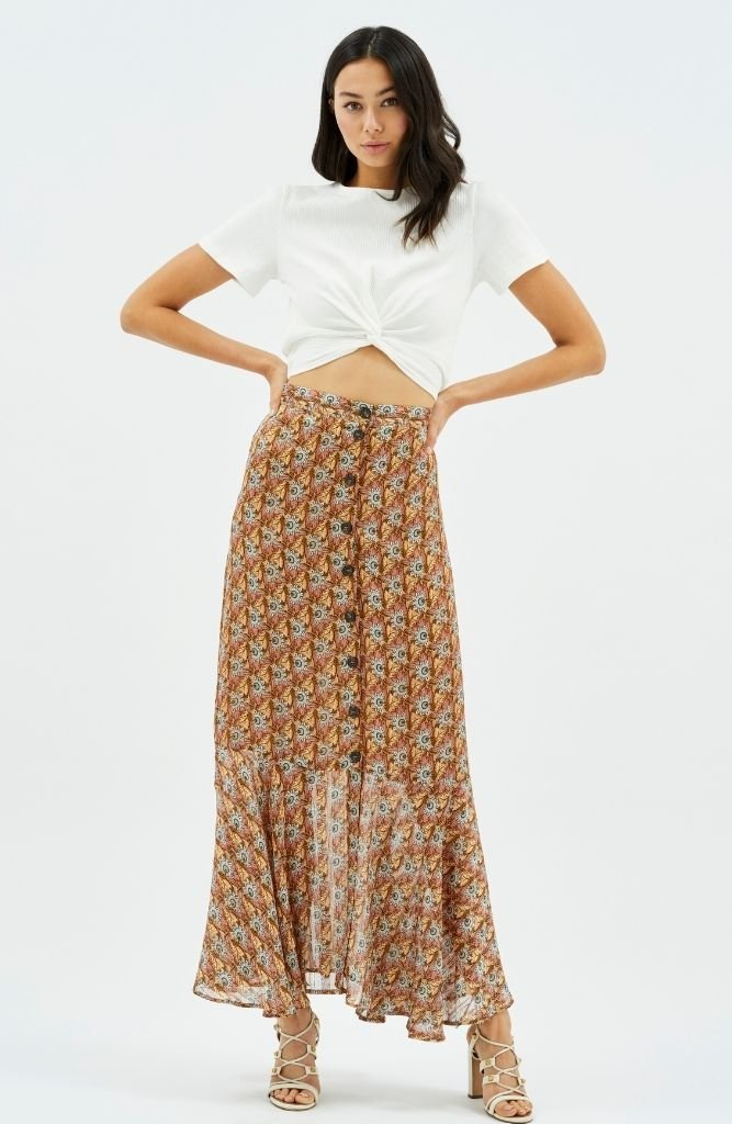 MINKPINK Reema Button Down Midi Skirt
