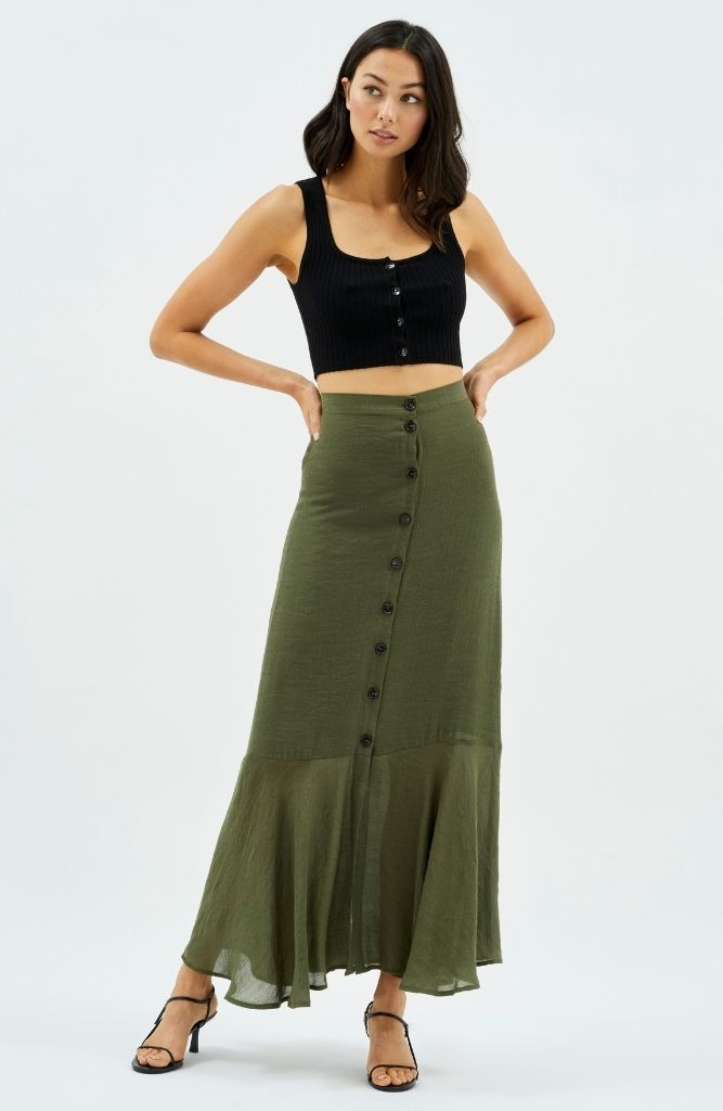 MINKPINK Logan Button Down Midi Skirt