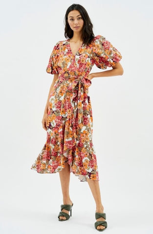 Wrap Frill Midi Dress in Floral