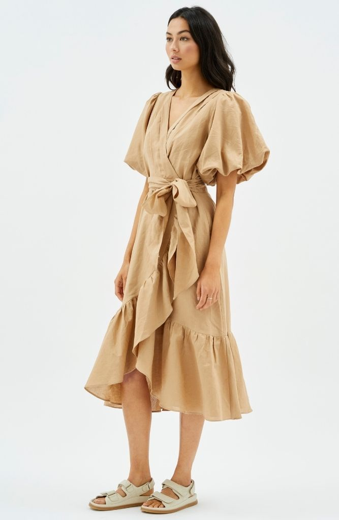 Wrap Frill Midi Dress in Nude