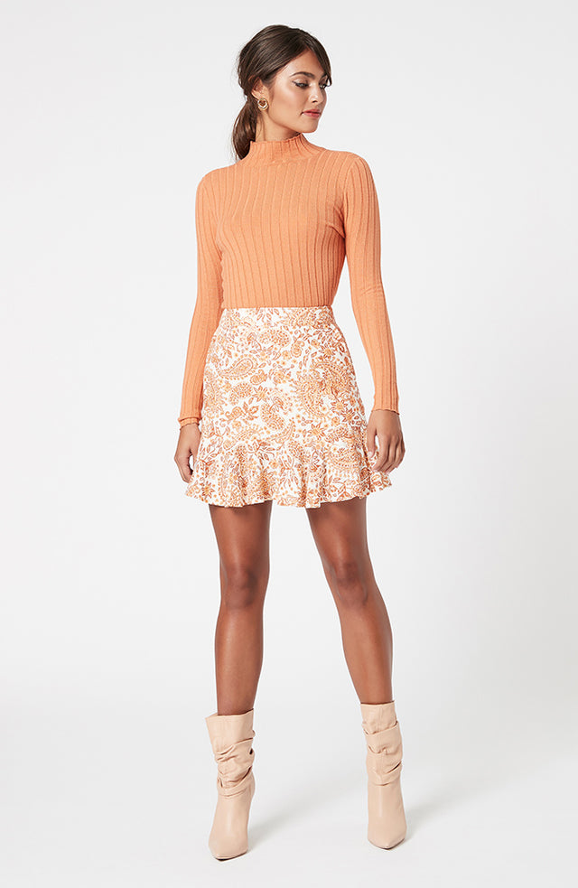 Golden Paisley Mini Skirt