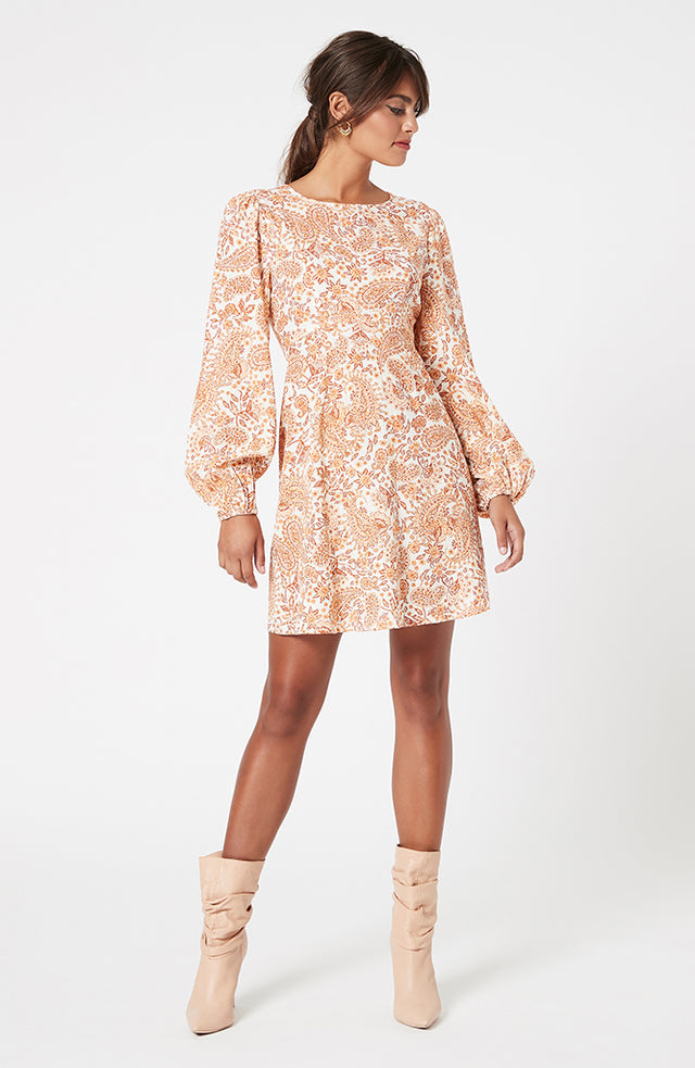 Golden Paisley Mini Dress (4581889998941)