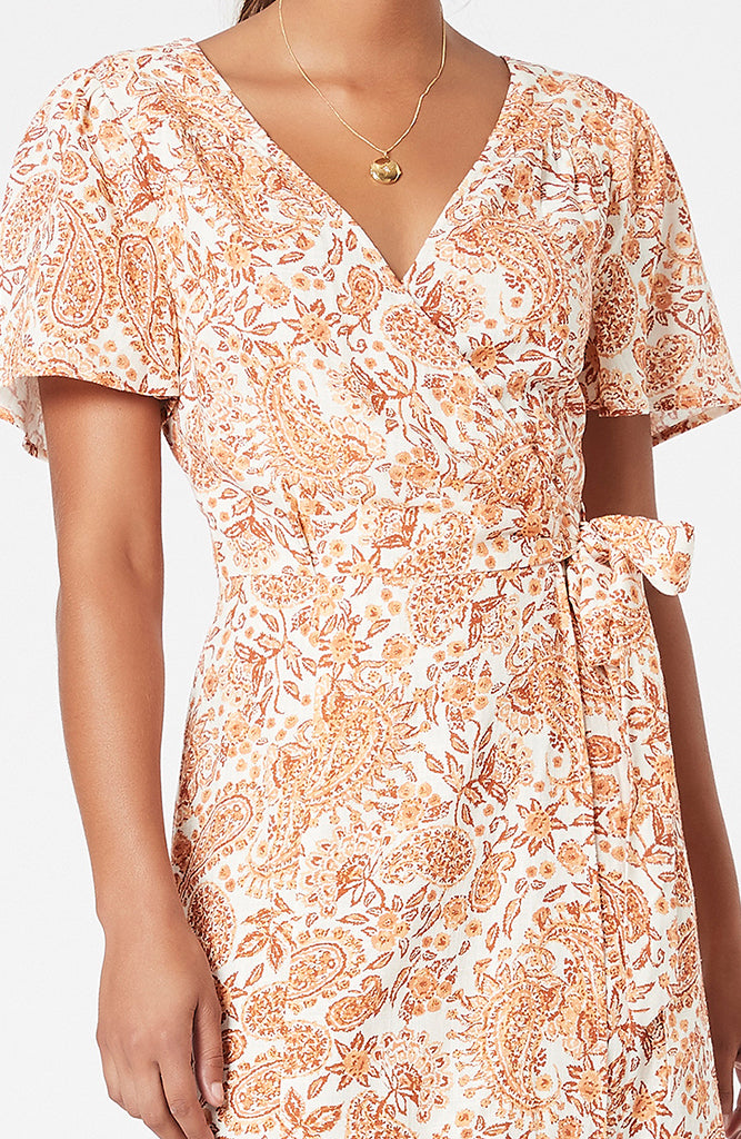 Golden Paisley Midi Wrap Dress (4581890490461)
