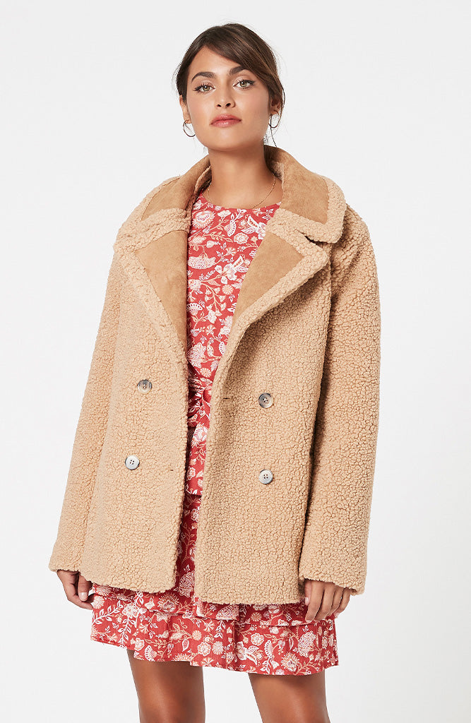 MINKPINK Rylie Mix Teddy Coat
